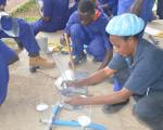 Students of National certificate in plumbing undergoing practical examination during the Nov-Dec 2018 examinations at Nyamitanga Technical Institute
