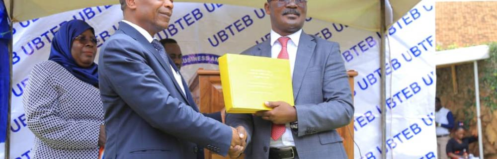 Minister of Education and Sports Hon. J.C Muyingo and UBTEB Board Chairperson Eng. Mugisha on the release of May-June 2019 exams